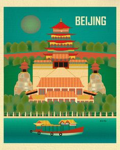 Beijing, China wall art is available in an array of finishes, materials, and sizes, this retro inspired wall art will make Beijing feel close to your heart with its bright color palette and unique des