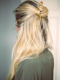 4 Le Fashion Blog 20 Inspiring Half Up Top Knot Hairstyles Blonde Hair Bun Via Camilla Pihl