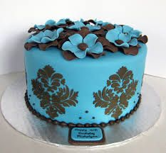 blue and brown fondant cakes flowers single layer Birthday Cake For Mom, Birthday Cakes, Fondant Cakes, Brown, Flowers, Desserts, Blue, Food, Pastries