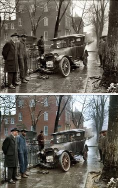 """Auto Wreck in Washington D.C, 1921 - The original photo + Colorized by the user """"mygrapefruit"""" and posted on Reddit"""