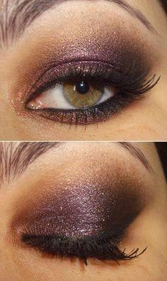 pop of purple on hazel eyes