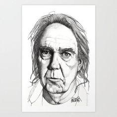 Neil Young - Original Signed Paul Nelson-Esch Drawing Art Pencil Illustration Portraiture Retro Fashion Home Decor House Free s&h