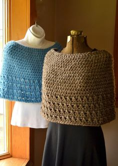 Light Blue Cape Crochet Capelet or Poncho Sky Blue by LazyTcrochet, $32.00