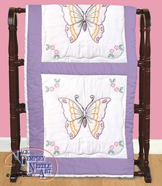 """Butterfly 18"""" Quilt Squares - Embroidery Kit"""