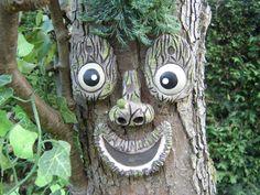 Tree Face. A handmade garden ornament statue sculpture. A
