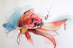 """""""Fish""""  Watercolor on paper"""