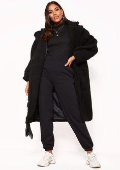 b1615fe662 Missyempire - Black Teddy Borg Longline Coat Uni Room