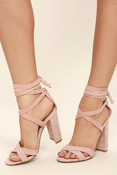 35dd3786d7be Steve Madden Christey Light Pink Suede Leather Lace-Up Heels