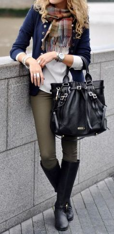 Love the outfit especially the scarf but not the purse