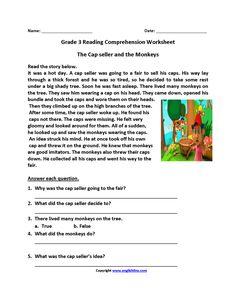 Cap Seller and Monkeys Third Grade Reading Worksheets