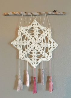 Crochet wall hanging, wall decor, doily art, shabby chic wall art with tassels, dream catcher Metal Tree Wall Art, Hanging Wall Art, Diy Wall Art, Wall Decor, Bedroom Decor, Bedroom Ideas, Crochet Wall Art, Crochet Wall Hangings, Browning Symbol