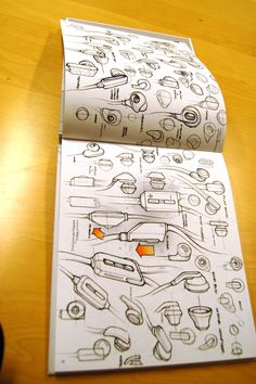 An excellent example of ideation / concept sketches, sketchbook, form/idea exploration.