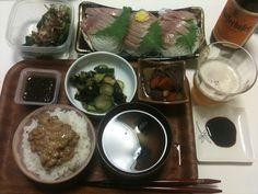 【7/5・夕飯】イサキの刺身、酢の物、モズク、筑前煮、モロヘイヤのお浸し、納豆ご飯、