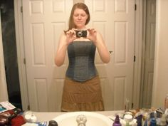 Homemade corset from jeans. Cool!