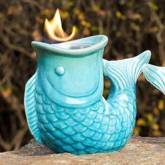 Sculptural fish ceramic firepot // eye-catching