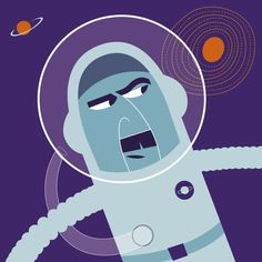 Graphic spaceman. Retro illustration + design by Robert Grieves / BERT Animation