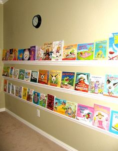 """rain gutter"" book shelves made with crown molding!"