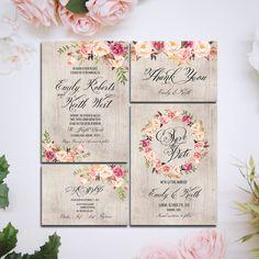 Printable Wedding Invitation Suite Boho Rustic wood Customizable Wedding Invites - DIY Bohemian Wedding Invitation Set (37.00 USD) by HappyLifePrintables