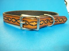 Leather Dog Collar with Oval Pattern by legacyleathercraft on Etsy, $21.00