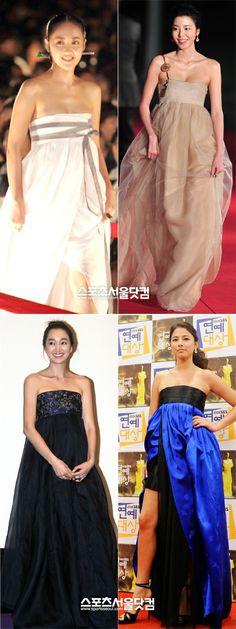 Red carpet hanbok dresses worn by Korean celebs