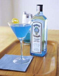 Sapphire Blue Martini - Sapphire Alpine Cocktail - 1 part Bombay Sapphire gin 1 part blue curacao liqueur 1 part peach schnapps