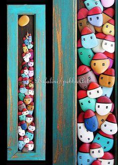 Pebble art by Michela Bufalini Stone Crafts, Rock Crafts, Diy And Crafts, Arts And Crafts, Pebble Painting, Pebble Art, Stone Painting, Pebble Pictures, Rock And Pebbles