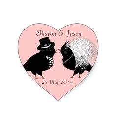 Cute Bride and Groom Whimsical Love Birds Wedding favor stickers.  Cute Bride and Groom Whimsical Love Birds Wedding project stickers ideal for putting on table decorations and wedding favors. Such a cute wedding sticker with a black and white a pair of love birds dressed as bride and groom in top hat and veil on a lovely pink base. Just personalize it with your own details; it's bound to impress your wedding guests and set the tone for a perfect wedding day.