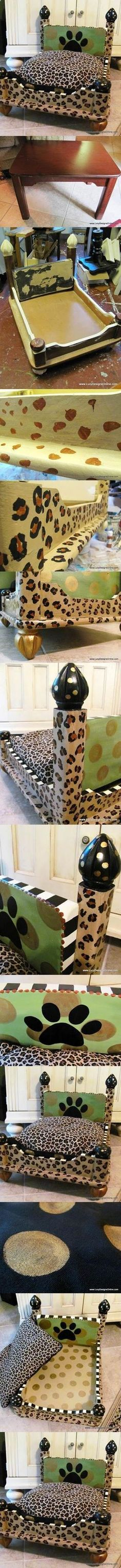 DIY Leopard Print Dog Bed from an End Table. Great tutorial on how to build one.