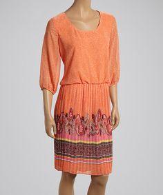 Tangerine Paisley Blouson Dress by Nina Leonard #zulily #zulilyfinds