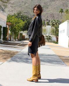 Vintage leather jacket, black tank, scarf worn as skirt, Frye boots & small fringe bag.