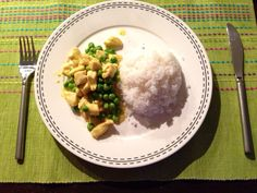 Chicken curry dish with rice