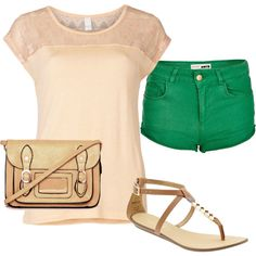 Designer Clothes, Shoes & Bags for Women Green Shorts, Shoe Bag, Collection, Shopping, Shoes, Design, Women, Style, Fashion