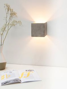 Concrete wall lamp indirect lighting gold square rare designer lamp by GANTlights on Etsy Luminaire Led, Luminaire Design, Lamp Design, Beton Design, Design Design, Sconces Living Room, Living Room Lighting, Home Lighting, Lighting Design