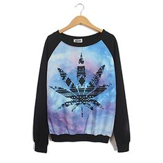 HEYFAIR Womens Cannabina Print Crew Neck Pullover Sweatshirt one size 4 *** Be sure to check out this awesome product.
