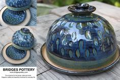 Covered Carved Butter Dish from Bridges Pottery. www.bridgespottery.com