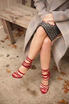These Nasty Gal Wrap Me Up Suede Heels in burgundy fit right into my wardrobe!