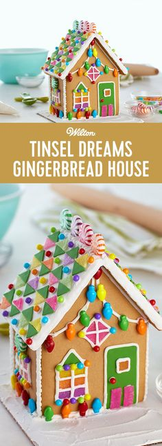 Tinsel Dreams Gingerbread House - The gingerbread designs of this townhouse kit take your decorating to new heights--from the slender silhouette of the house to the fun candy shapes and colorful fondant decorating choices. This is a great gift for your favorite realtor, builder, or anyone who loves distinctive homes!