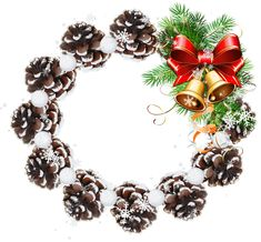 Round Pine Cone Transparent PNG Christmas Photo Frame | Gallery Yopriceville - High-Quality Images and Transparent PNG Free Clipart