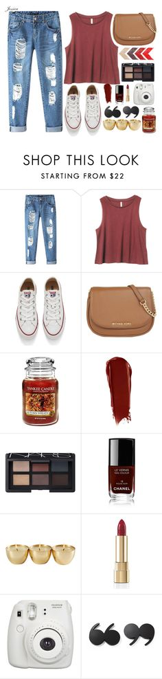"""Boyfriend Jeans"" by jessicagreene123 ❤ liked on Polyvore featuring Chicnova Fashion, Converse, MICHAEL Michael Kors, Yankee Candle, NARS Cosmetics, Chanel, Dolce&Gabbana, Kate Spade, women's clothing and women"