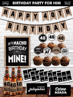 Printable 40th Vingtage AF Party Decorations Package for Him Men Guys with Nacho Bar, Instant Download, Digital PDF Download