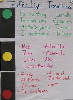 Transition Words~ An easy-to-use list that makes sense with visual color clues. Great idea!