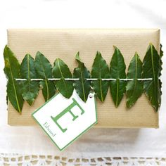 Bay leaves strung onto twine ... a fragrant way to wrap a gift