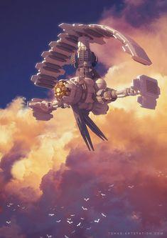 Long Haul Flight by Sylvain Sarrailh -- really interesting spaceship design…