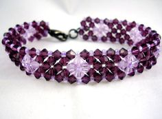 Crystal Bracelet Purple with Crystal Accents by SmileykitCreations, $30.00