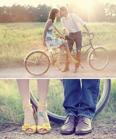 Tandem Bike - in the countryside - engagement session inspiration Vintage Bike Parts, Vintage Bikes, Engagement Session, Engagement Couple, Engagements, Country Engagement, Vintage Engagement Photos, Engagement Pictures, Couple Photography