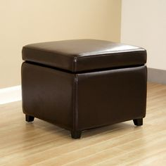 Pisanio Square Leather Storage Ottoman
