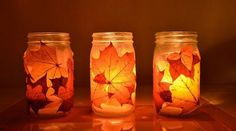 A neat idea for a preschool craft! Go for a fall walk and collect leaves. Mod-podge to mason jars. Use battery operated candle inside jars. Tie fall ribbon around mouth of jar. Mason Jar Crafts, Mason Jars, Candle Jars, Glass Jars, Jam Jar Candles, Diy Jars, Glass Candle, Clear Glass, Fall Crafts