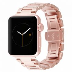 38mm Apple Watch Rose Gold Metal Linked Band ($50) ❤ liked on Polyvore featuring jewelry, watches, sports wrist watch, sports jewelry, butterfly watches, rose jewelry and logo watches