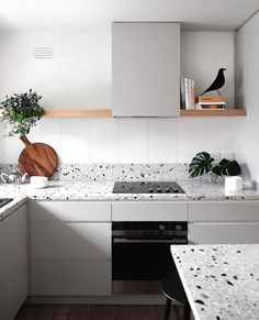 Kitchen Interior Design Terrazzo — a fixture of the that is making a major comeback. - Granite is great and all, but have you heard of basalt? Kitchen Countertop Materials, Kitchen Countertops, Kitchen Cabinets, Grey Cabinets, Kitchen Soffit, Wooden Countertops, Soapstone Kitchen, Kitchen Appliances, Terrazzo