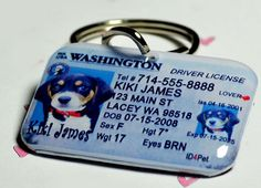 Custom Pet ID Tag - Driver License by ID4Pet - double sided with your pet info/photo via Etsy